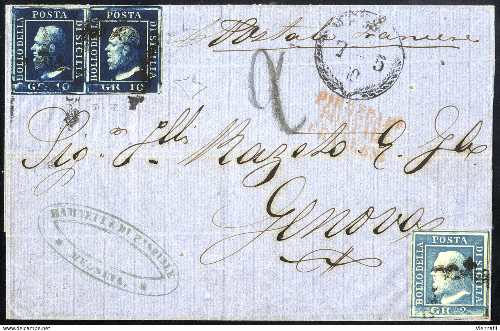 Cover 1860, Lettera Da Messina Il 5.5 Per Genova Affrancata Per 22 Grana Con 2 Grana III Tavola Azzurro E Coppia 10 Gran - Sicilië
