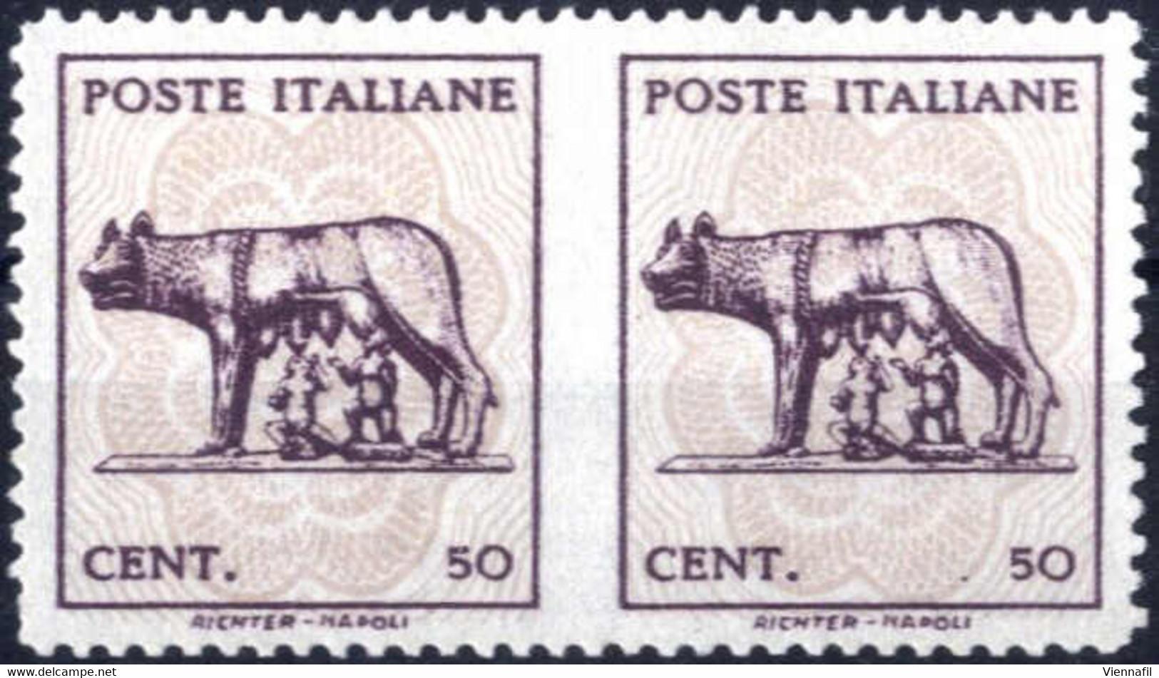 (*) 1943, Coppia Orizzontale Non Dentellato Al Centro, Sass. 515Aaa / 1000.- - Sin Clasificación