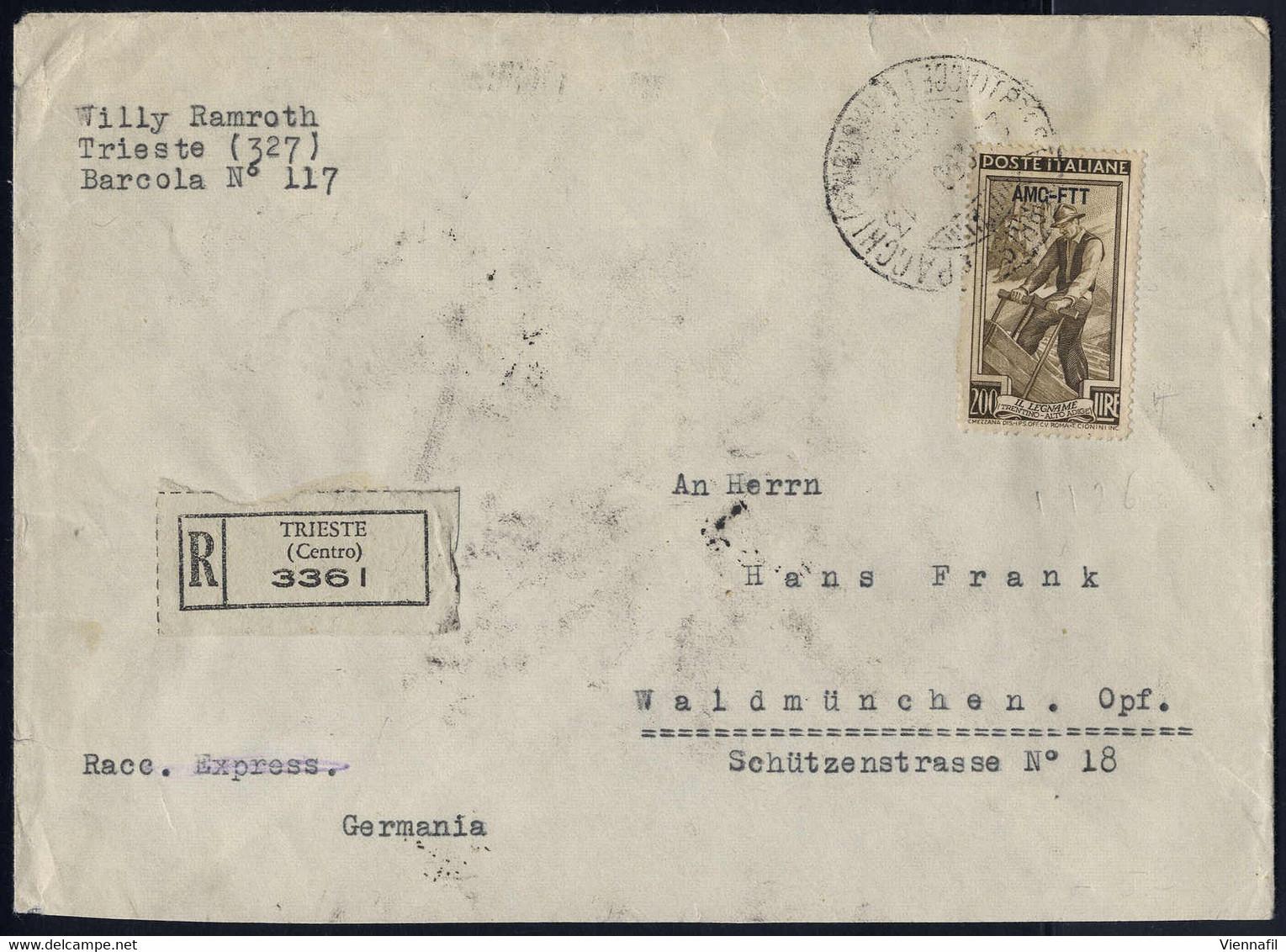 Cover 1950, Lettera Raccomandata Da Trieste Il 23.12.50 Per Waldmünchen (Germania) Affrancata Con 200 L. Lavoro, Sass 10 - Zonder Classificatie