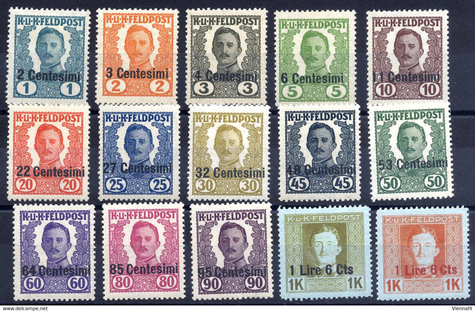 """* 1918, Non Emessi, Serie Di 14 Valori Più 1 Lira 6 Cent. Su 1 Corona Arancio Con """"soprastampa Rossa"""", Non Comune (Sass. - Unclassified"""