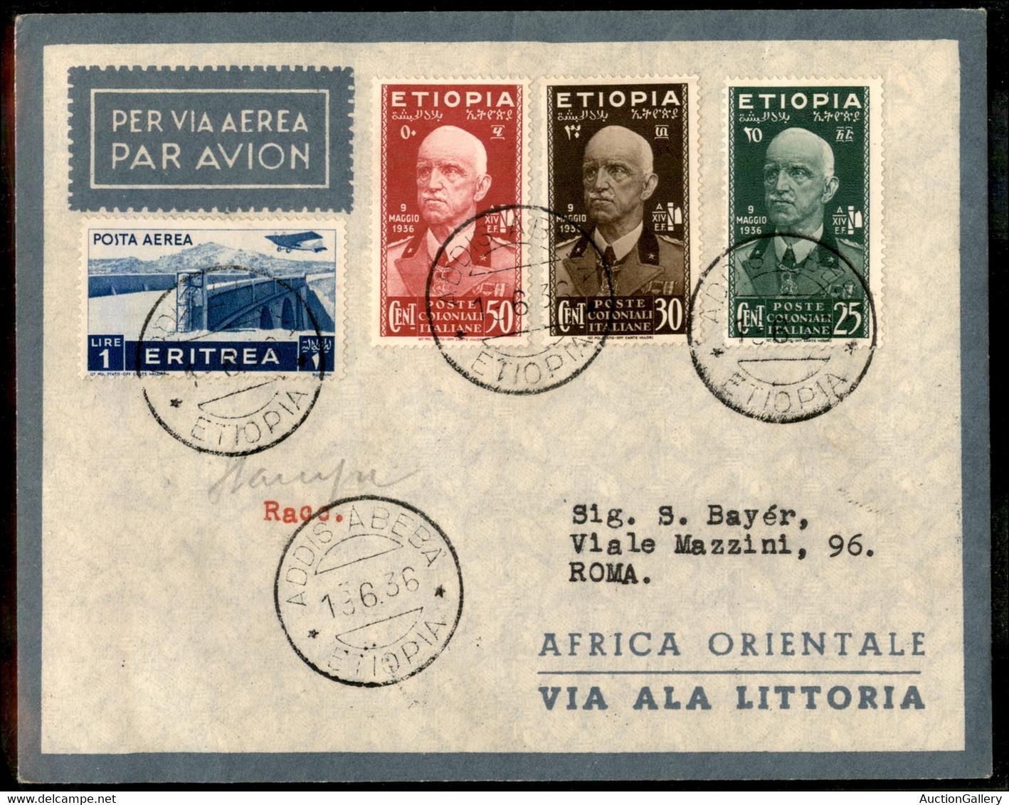 AEROGRAMMI - PRIMI VOLI - 1936 (18 Giugno) - Addis Abeba Roma - Longhi 3571 - Ala Littoria - Primo Volo - 10 Volati - No - Non Classificati