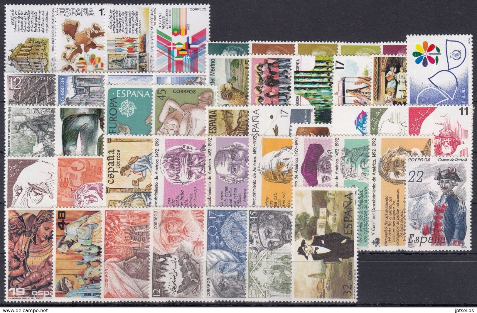 ESPAÑA 1986 Nº2825/2873 AÑO NUEVO COMPLETO,47 SELLOS,1 HB,4 CARNETS - Full Years