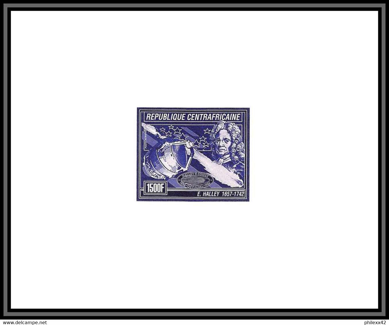 Départ 1 Euro - 95798 N°1247 Comète Halley's Comet Espace Space 1986 Centrafricaine Epreuve D'artiste Artist Proof Blue - Africa