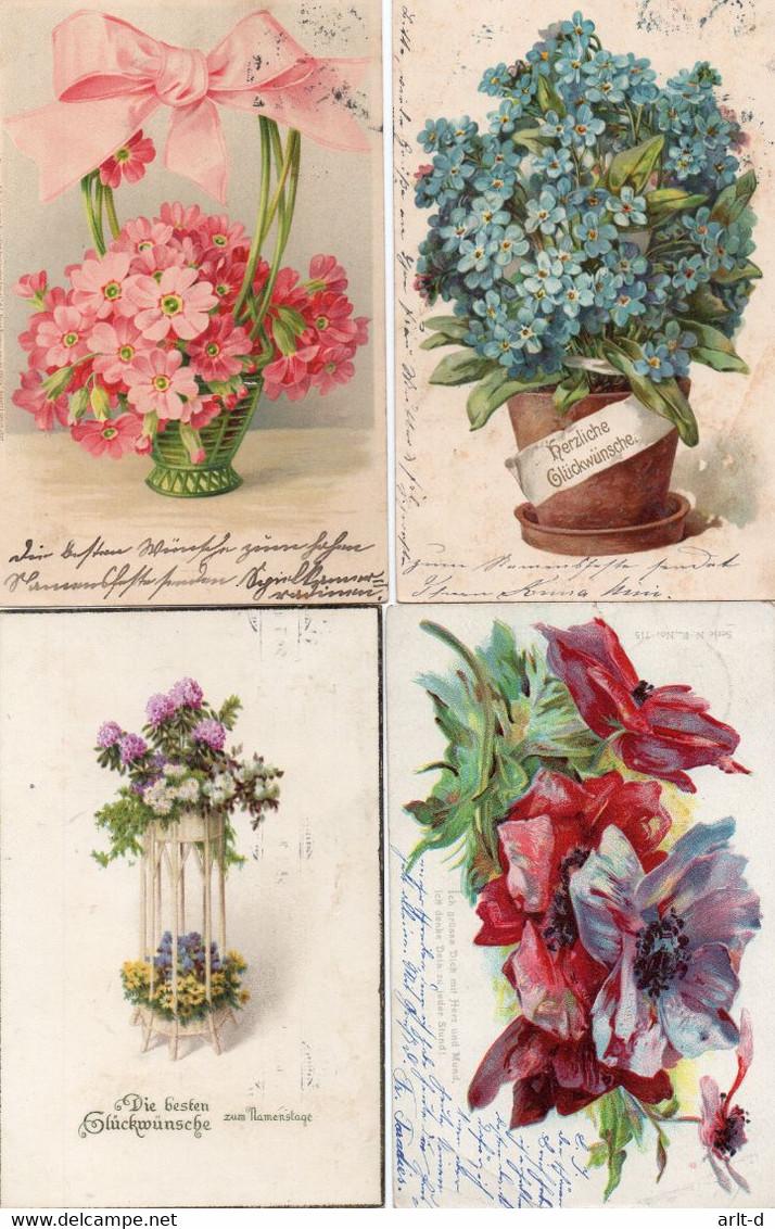 DC478 - Ak Schöne Motivkarten Lot Blumen Flower 4 Karten, Cpa Fleurs, Beaux Motifs - Flores