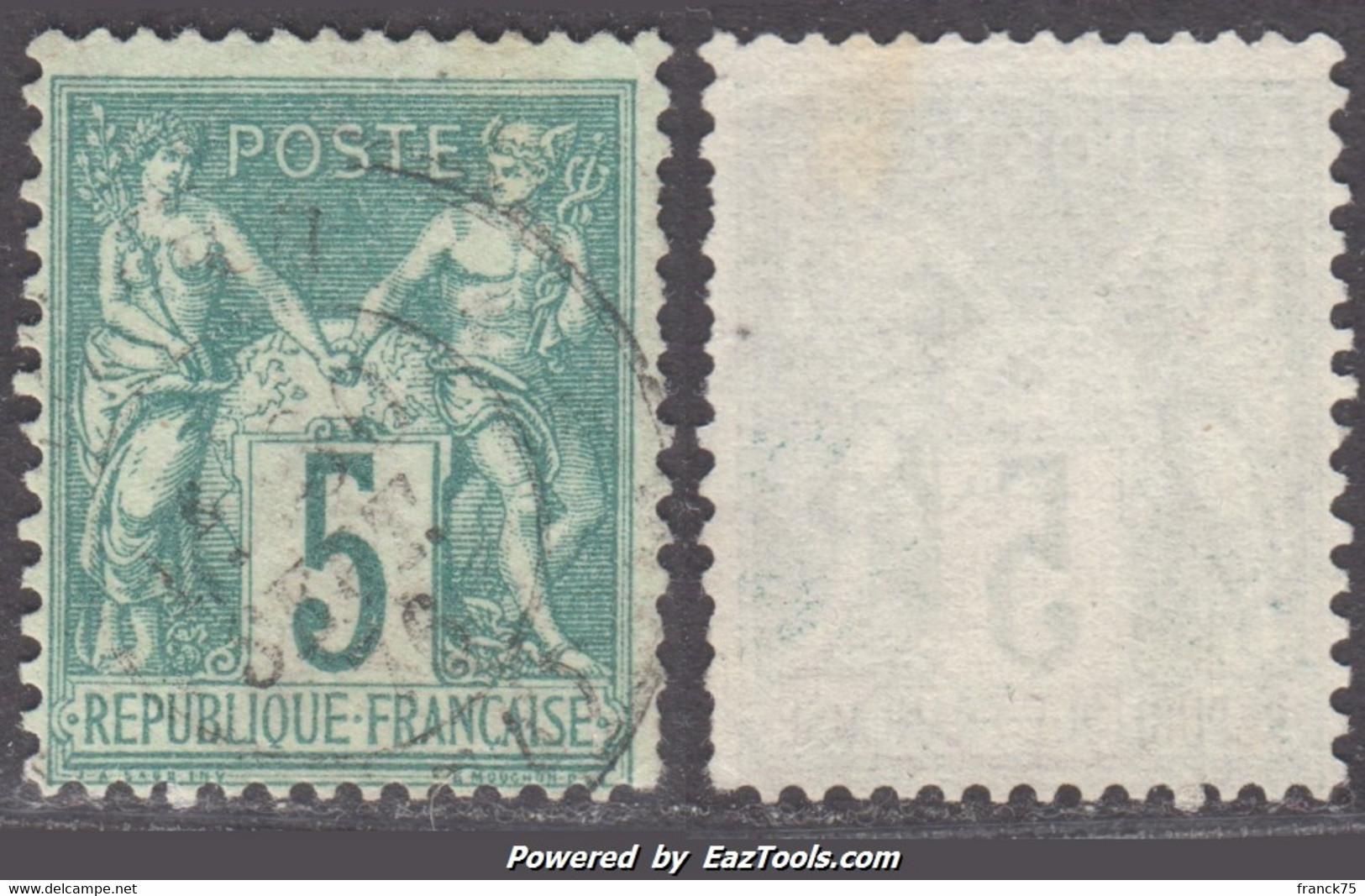 5c Sage Type I (N/B) Oblitéré Aspect TB (Y&T N° 64, Cote  60€) - 1876-1878 Sage (Tipo I)