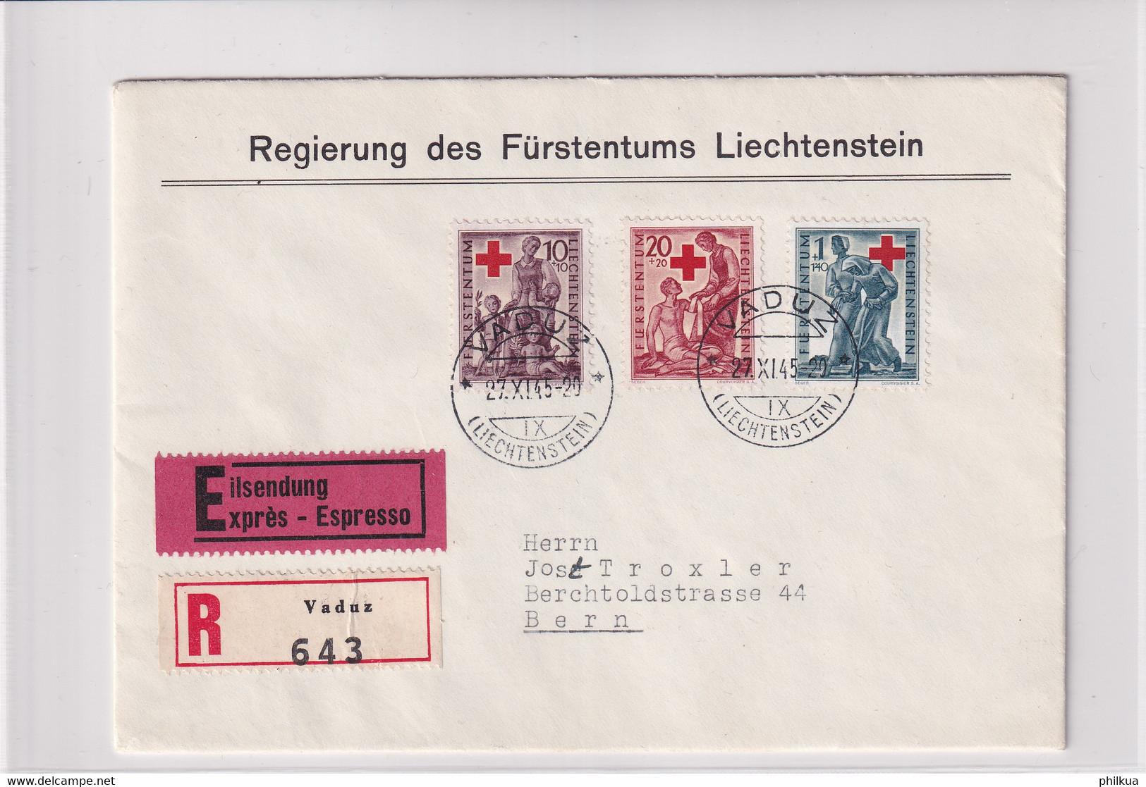 Liechtenstein Michel 244-246 Rotkreuz Express FDC Mit Telegrafen-Ankunftsstempel BERN TELEGRAPH Eilzustellung - FDC
