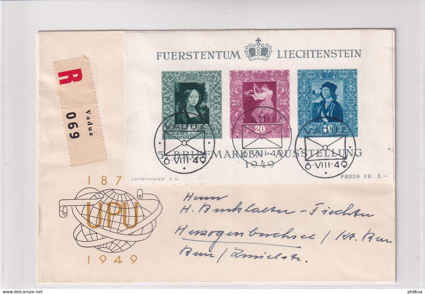 Liechtenstein Michel 278 - 280 (Block 5) Auf Echt Gelaufenem R-FDC Nach Herzogenbuchsee - FDC