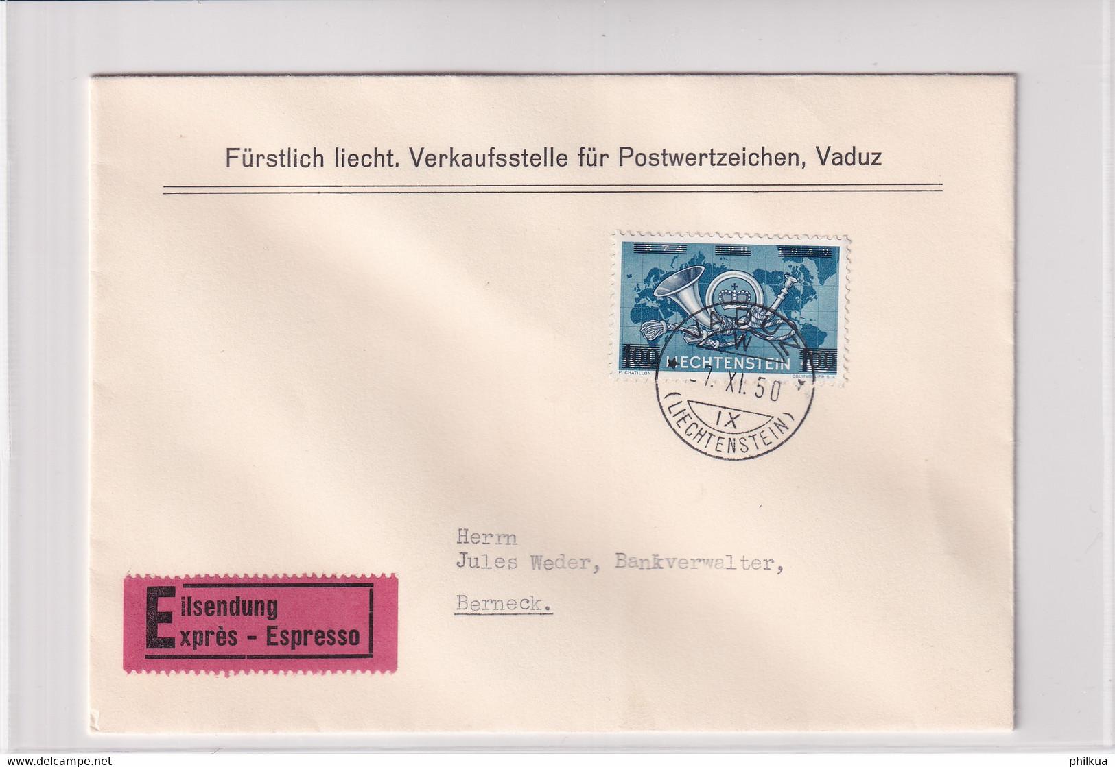 Liechtenstein Michel 288 Auf Echt Gelaufenem Express FDC Nach Berneck - FDC