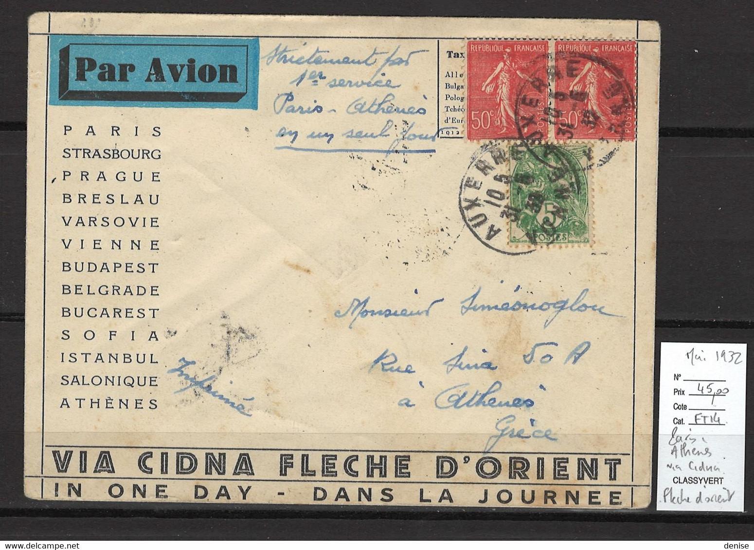 France - Paris - Athenes Via Cidna Et Fleche D'Orient - Mai 1932 - Air Post