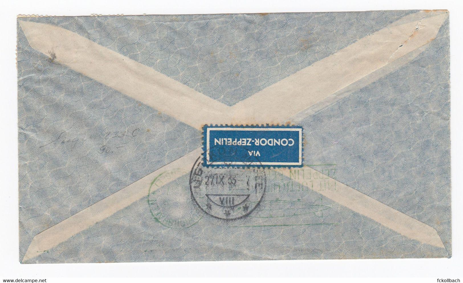 Brasil Air Mail Letter Bahia To Uetikon Switzerland Suisse By Zeppelin Servico Aero Tansatlantico Condor Zeppelin 1933 - Luftpost