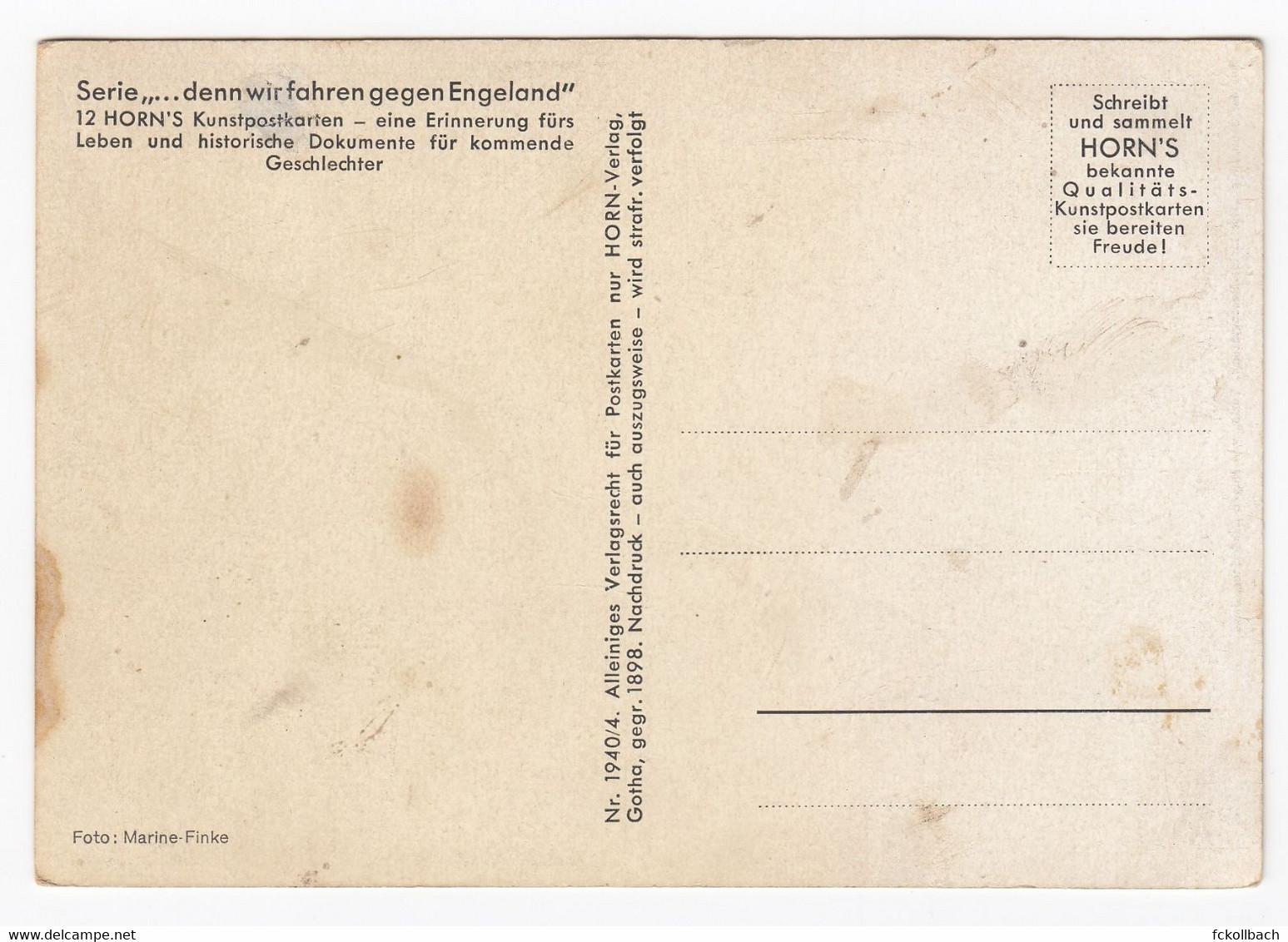 "Ansichtskarte Horn's Post Card Kriegsschiff Battle Ship Lied ""denn Wir Fahren Gegen Engeland"" Ungebraucht Ca. 1940 - War 1939-45"