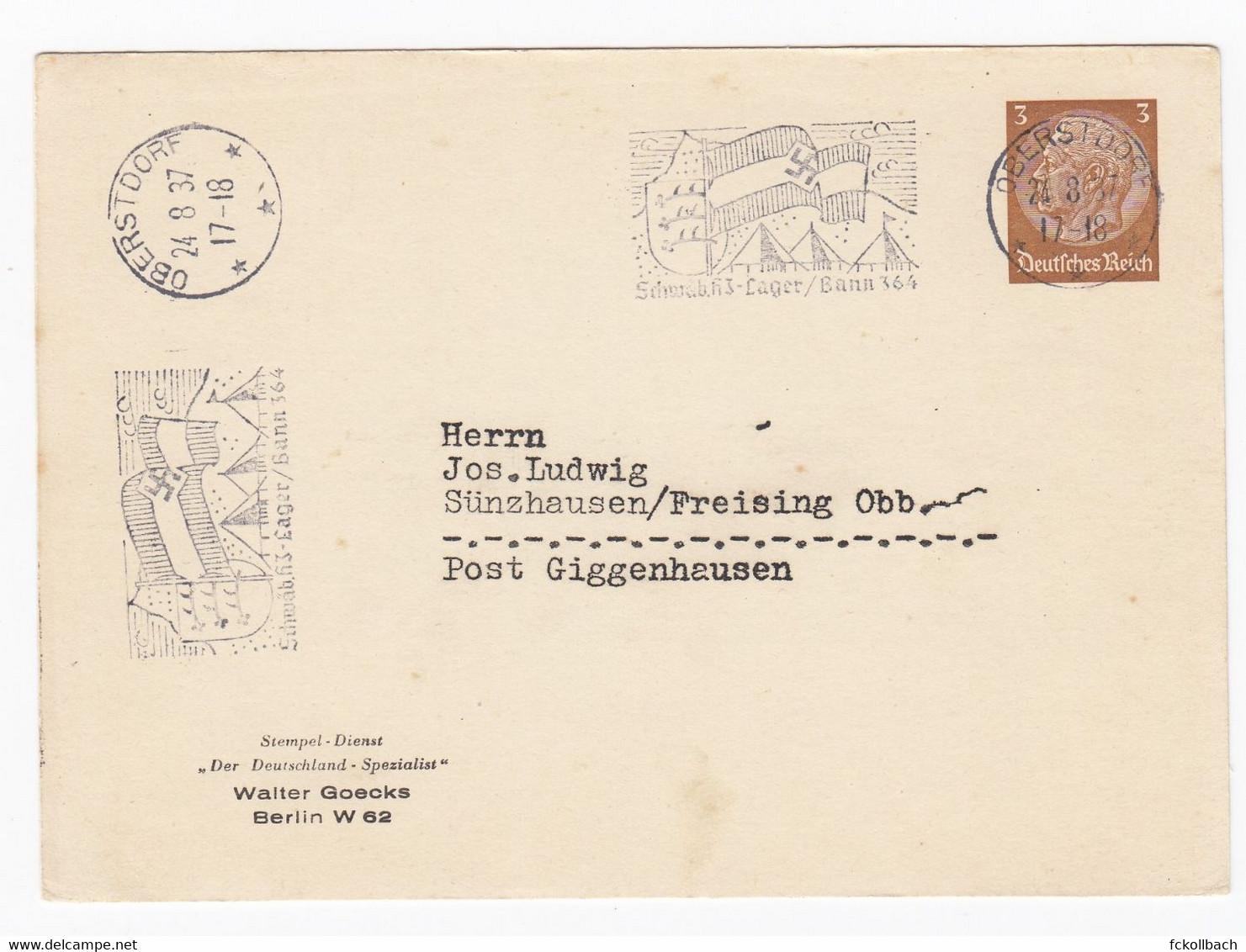 Ganzsache Privatpostkarte PP 122 B7/02 Werbestempel Schwäbische HJ-Lager/Bann 364 Oberstorf 1937 Sünzhausen Hitlerjugend - Briefe U. Dokumente