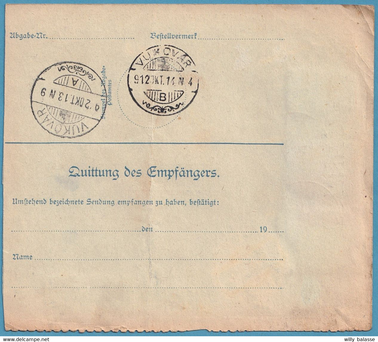 Bulletin D'expédition 10h + 2H + 20H + 60H Càpt WIEN/11.X.1912 Pour Vukovar (Croatie) - Covers & Documents