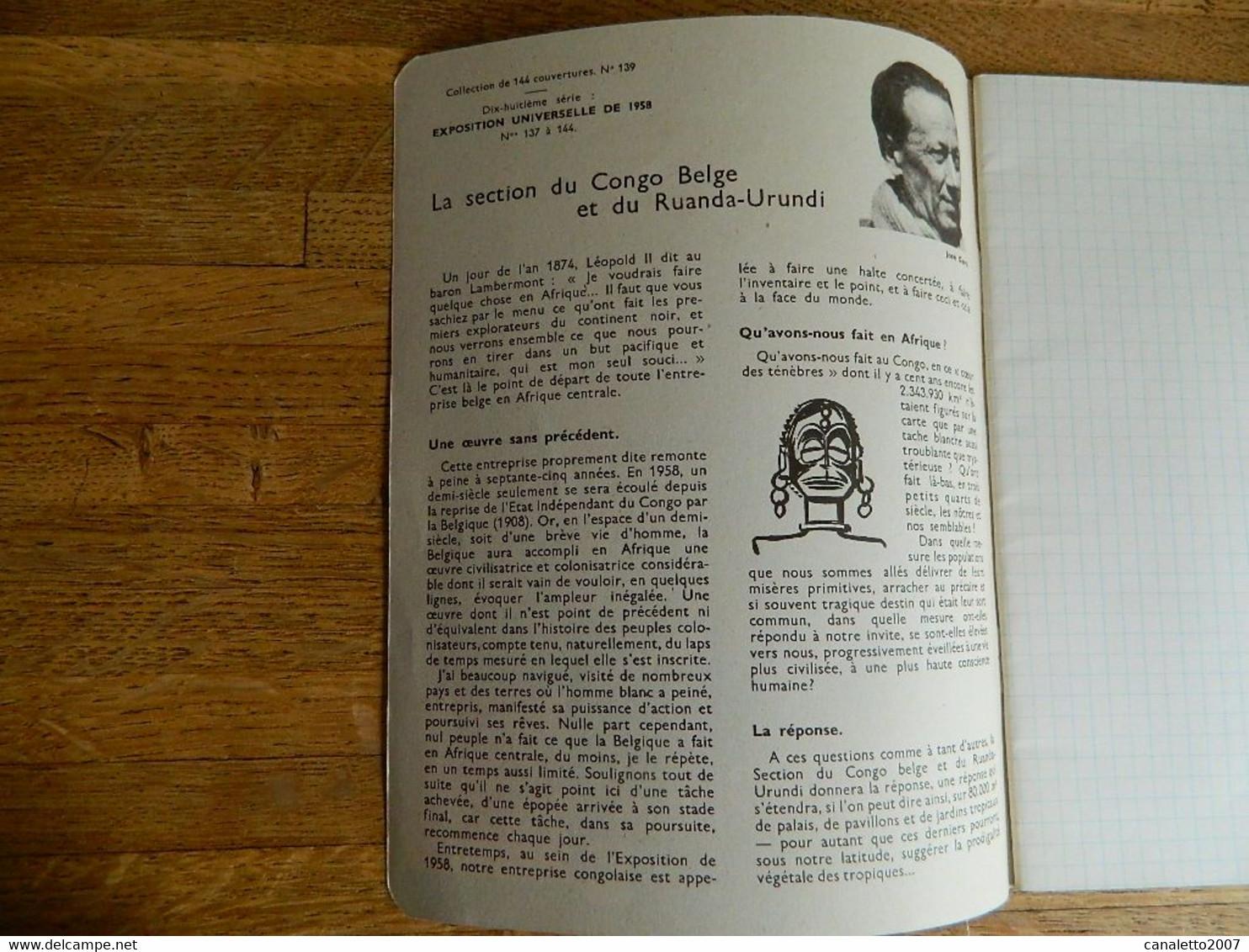 CROIX ROUGE:CAHIER ET BUVARD VIERGE DE L'EXPOSITION UNIVERSELLE DE BRUXELLES DE 1958 -SECTION DU CONGO BELGE N° 139 - Unclassified