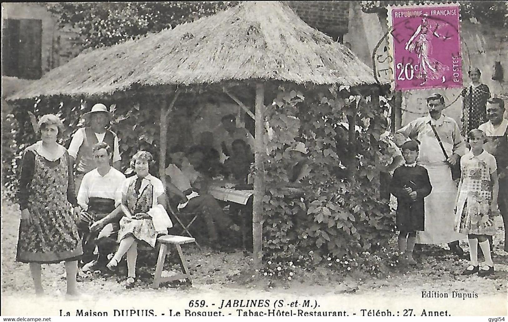 Jablines (  683 H En Seine Et Marne )   La Maison Dupuis Le Bosquet Tabac Hôtel - Restaurant TEL 27  CPA  1933 - Hotels & Restaurants