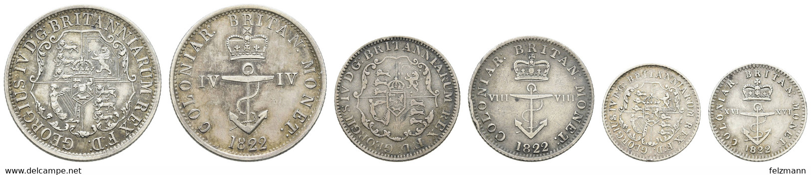 1/16, 1/8, 1/4 Dollar, 1822, Anchor Money, KM 1,2,3, Ss+,vz,vz - Colonies