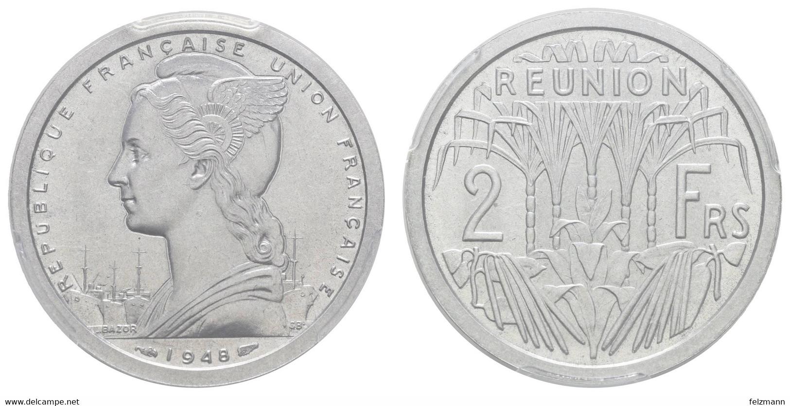 2 Francs, 1948, Stempelkopplung (Mule) - Reunion