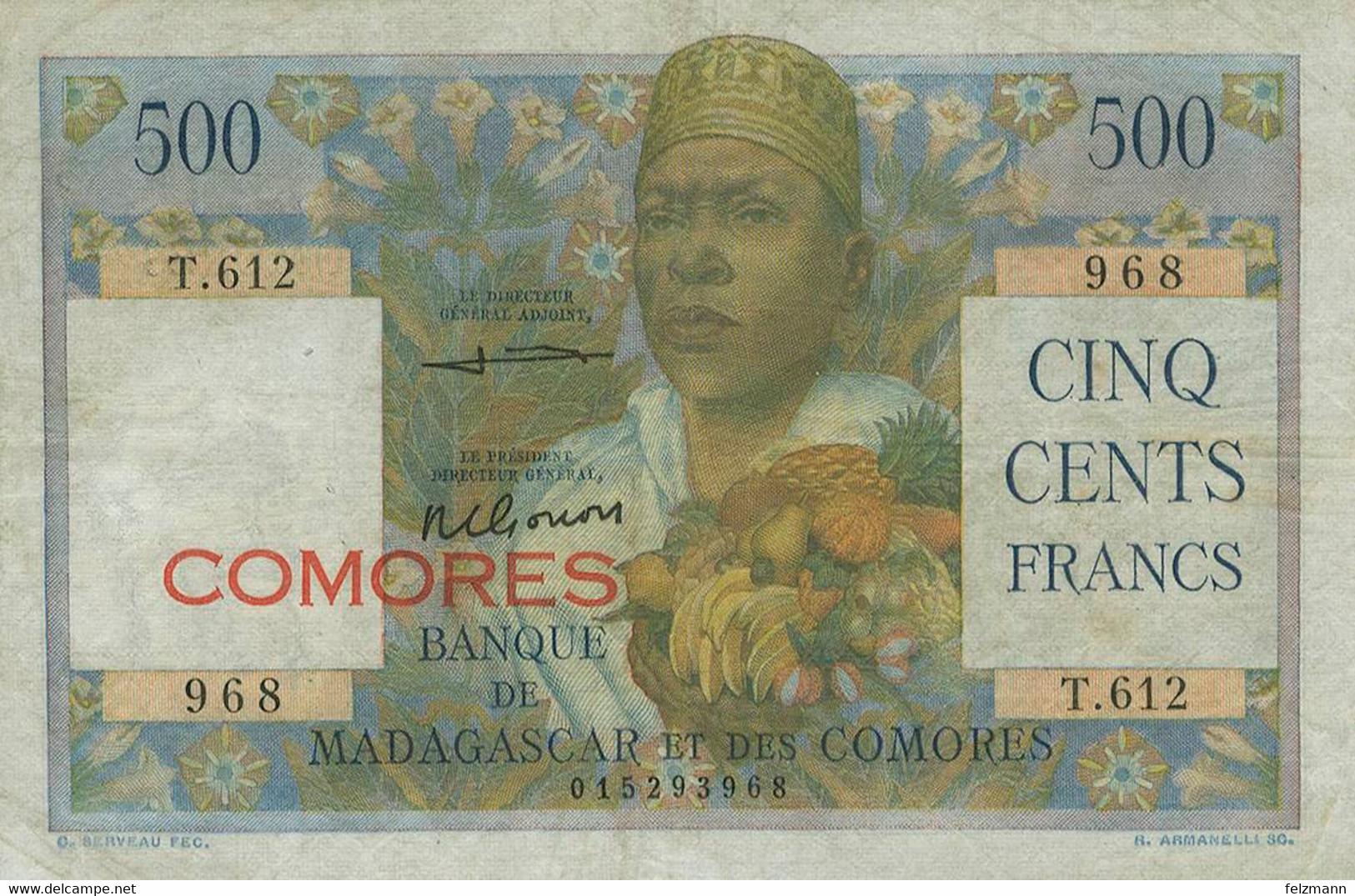 500 Francs, O.D., Gereinigt, WPM 4 B, III - Comoros