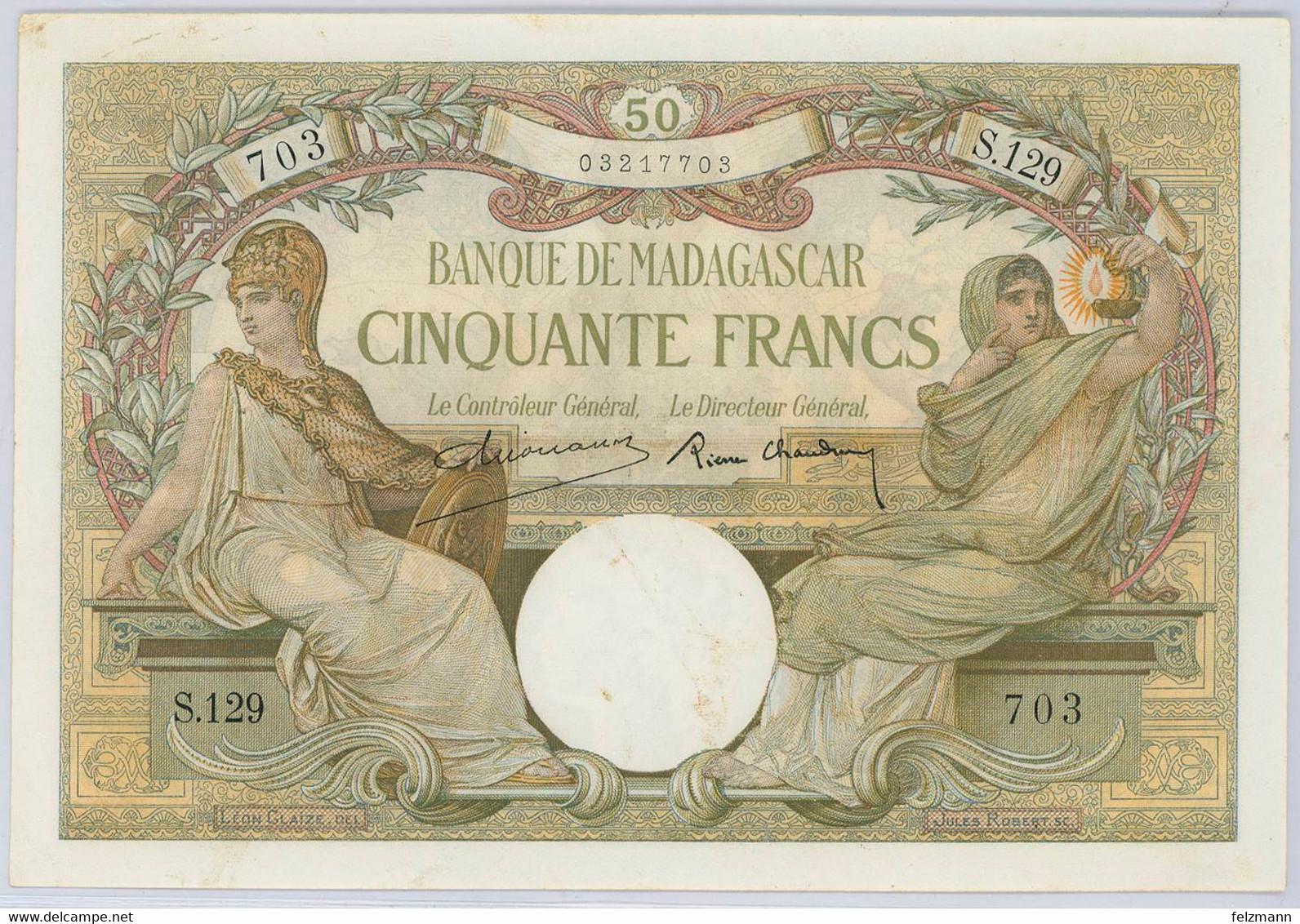 50 Francs, O.D., Leichte Stockflecken, WPM 38.2, I- - Madagascar