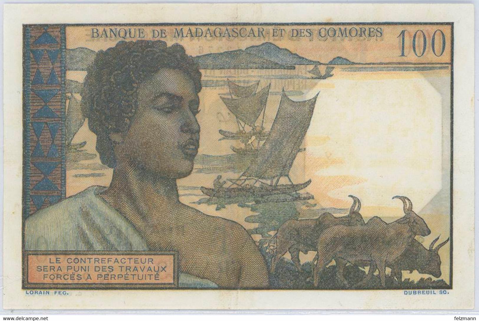 100 Francs, O.D., Gereinigt, WPM 52.2, II - Madagaskar