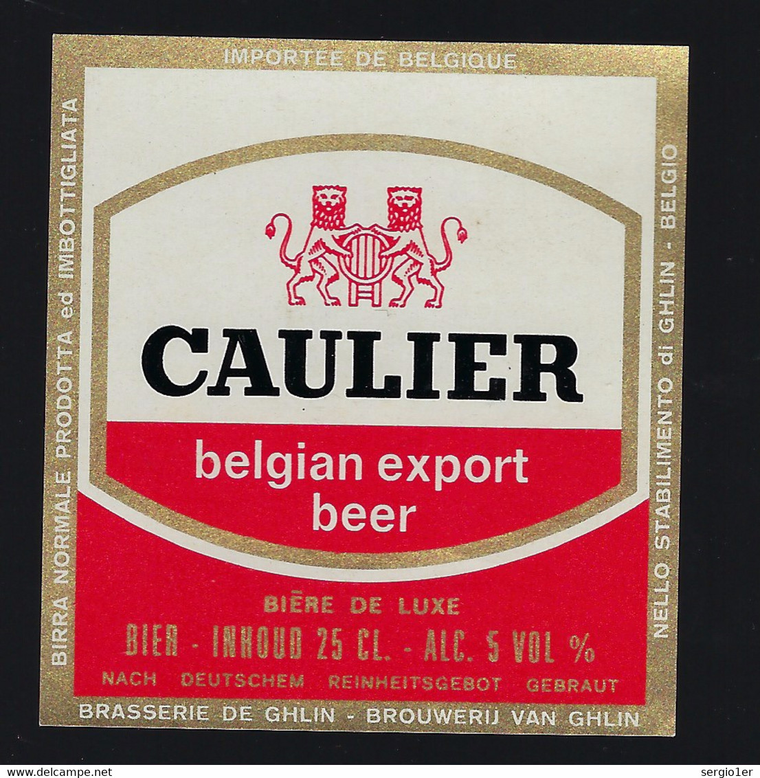 étiquette Bière Belgique: Belgian Export Béer Caulier  25cl 5% Brasserie De Ghlin - Bière