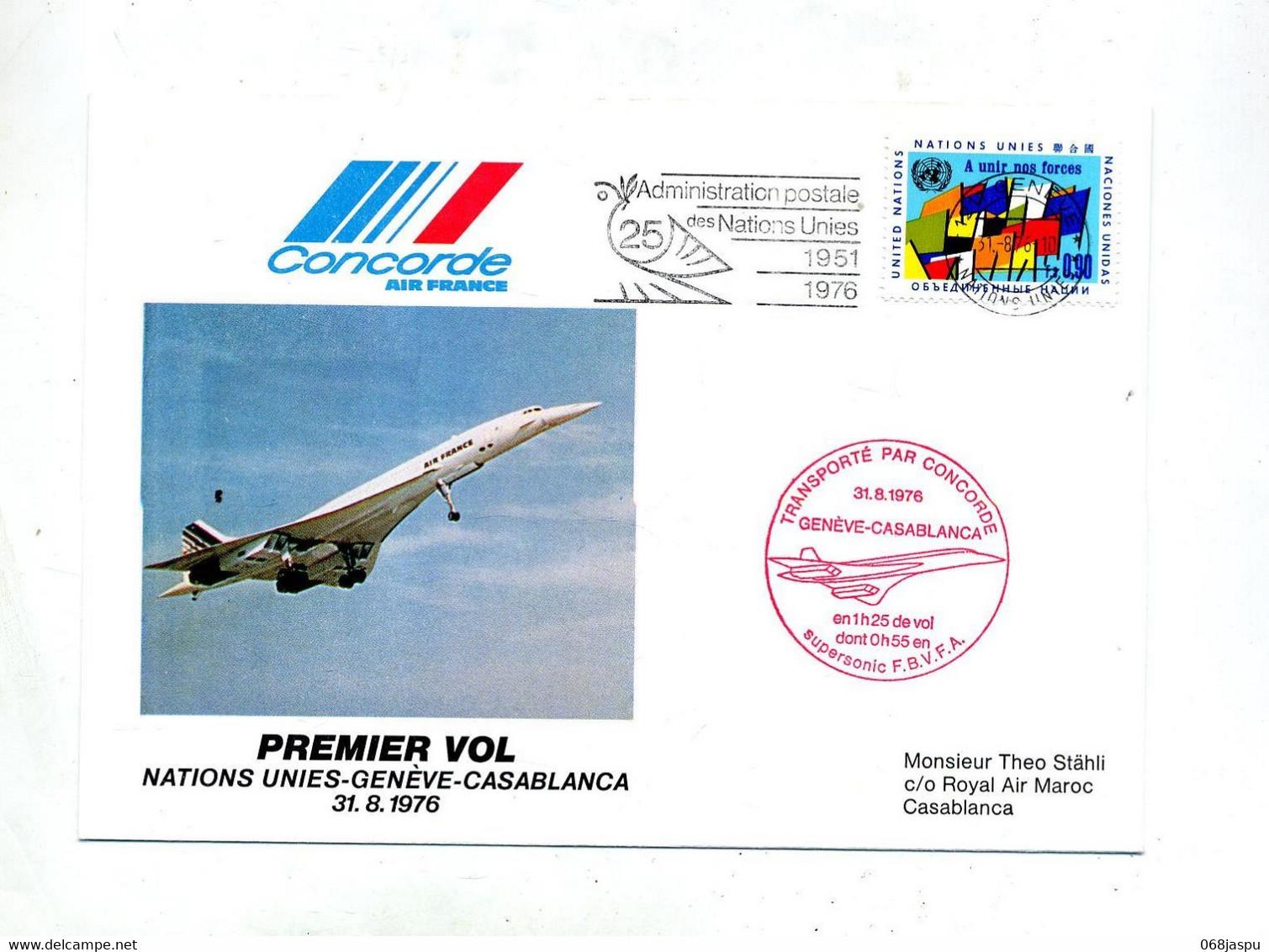 Lettre Premier Vol Concorde Geneve Casablanca - Concorde