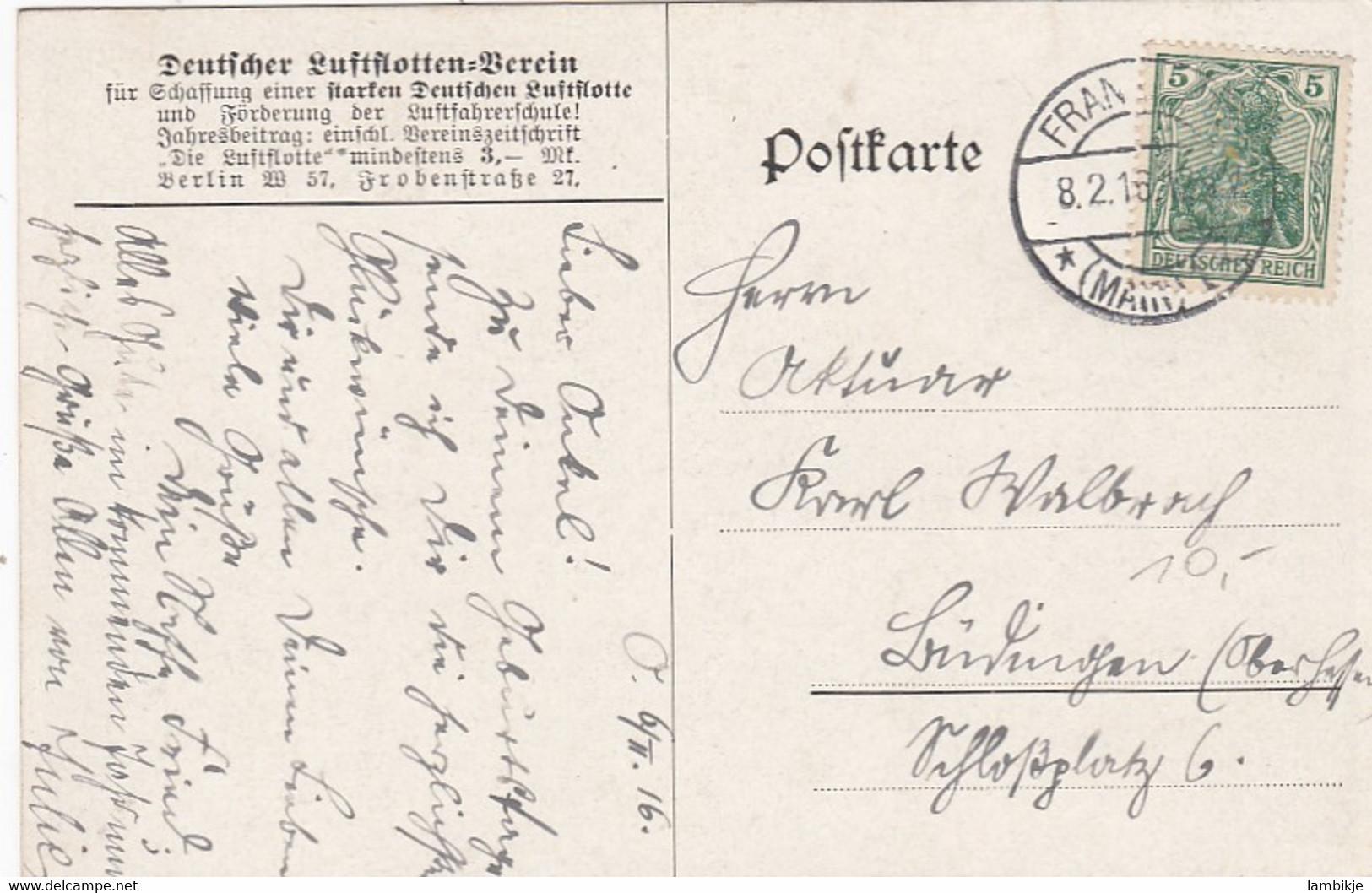 Deutsches Reich Postkarte Zeppelin 1916 - Storia Postale