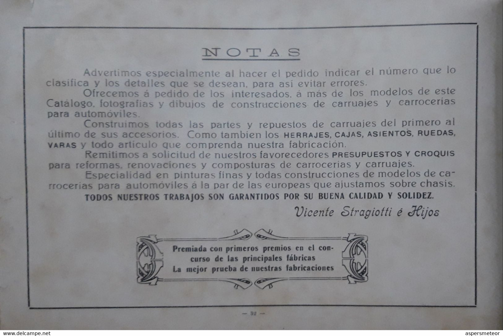 """LA INDUSTRIAL"" VICENTE STRAGIOTTI. CATALOGUE ILLUSTRE USINE DE CARROSSERIE CALECHE AUTOMOBILE. ARGENTINE 1910's.- LILHU - Cars"