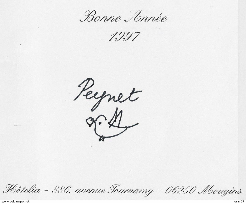 Carte Illustrée Par Peynet - 2 Volets - Voeux De Peynet Et Petit Oiseau Avec Coeur Original 1997 - Peynet
