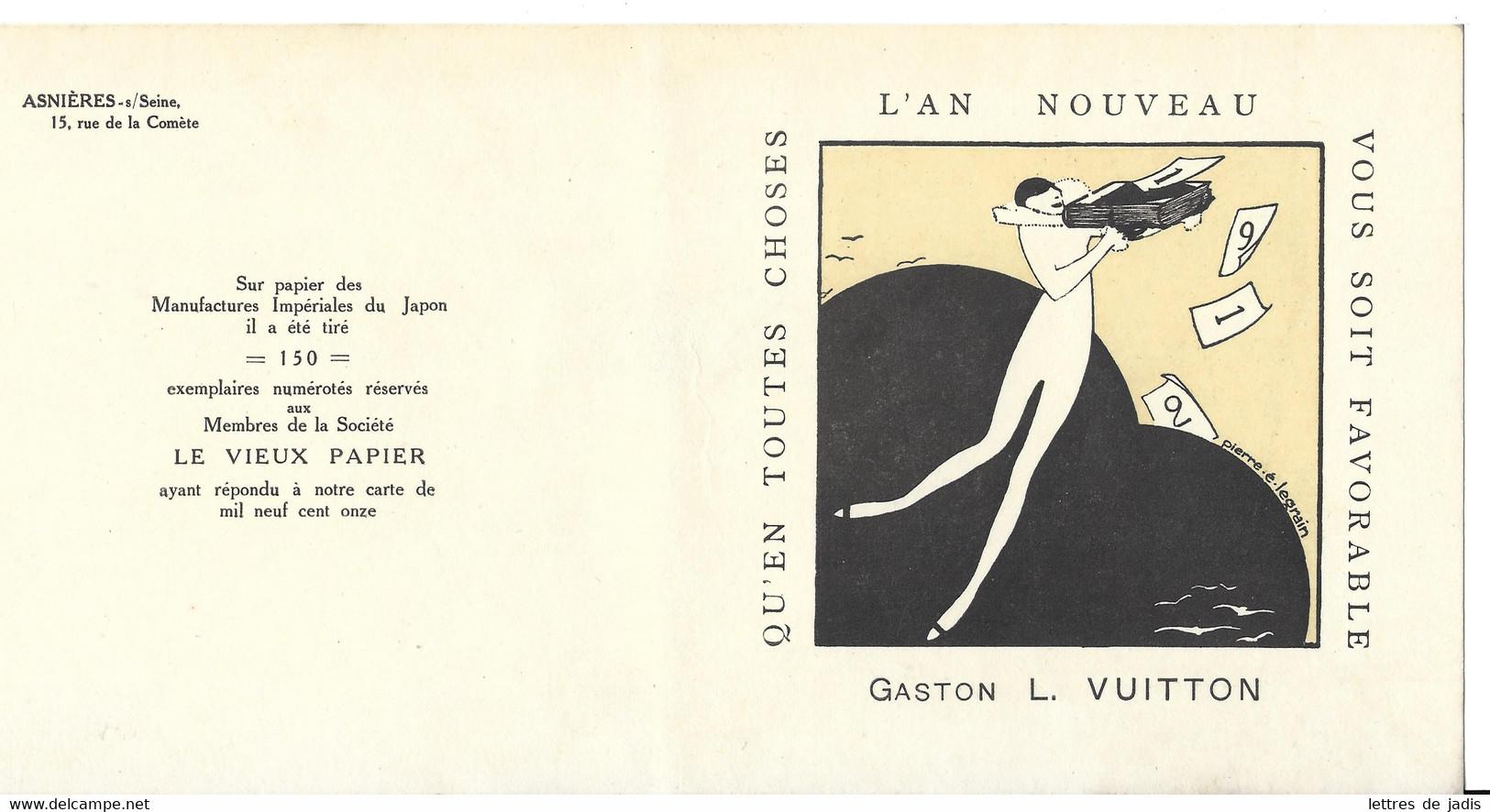 Rare Matrice De Carte De Voeux 1912 Gaston Louis Vuitton. Unique. - 1900 – 1949
