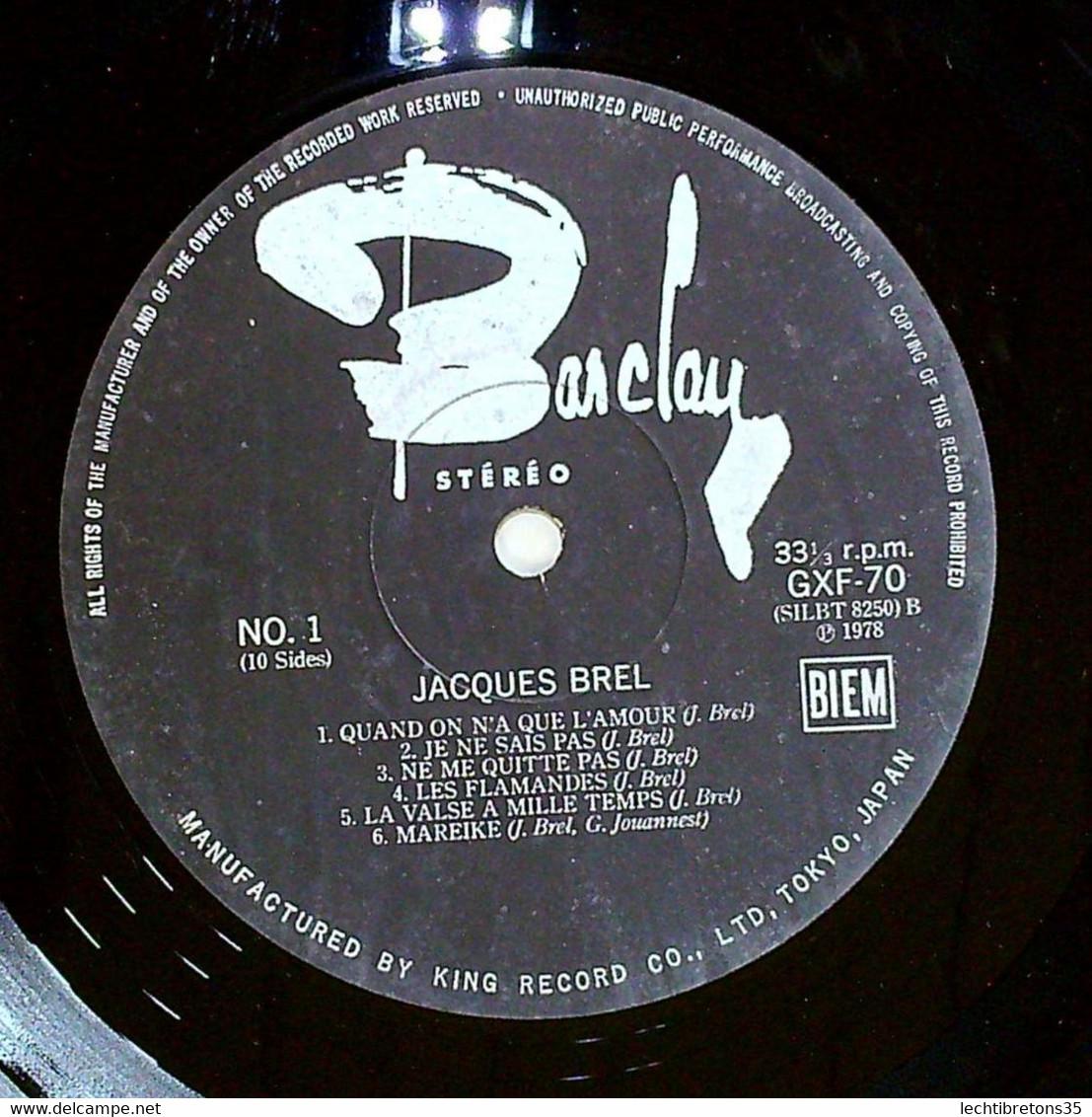 Rare Coffret LP JAPON Numéroté (545) Jacques Brel GXF 70/4 Barclay JAPAN - Other - French Music