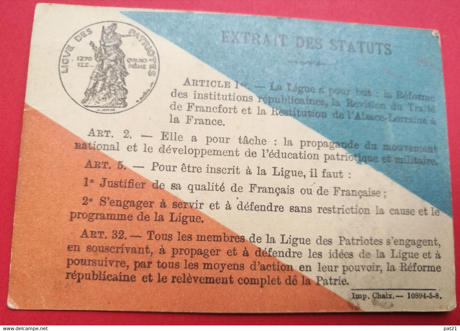 Carte Ligue Des Patriotes ,1888. A Mr Loeschmeyer   RARE Ttb état - Historical Documents