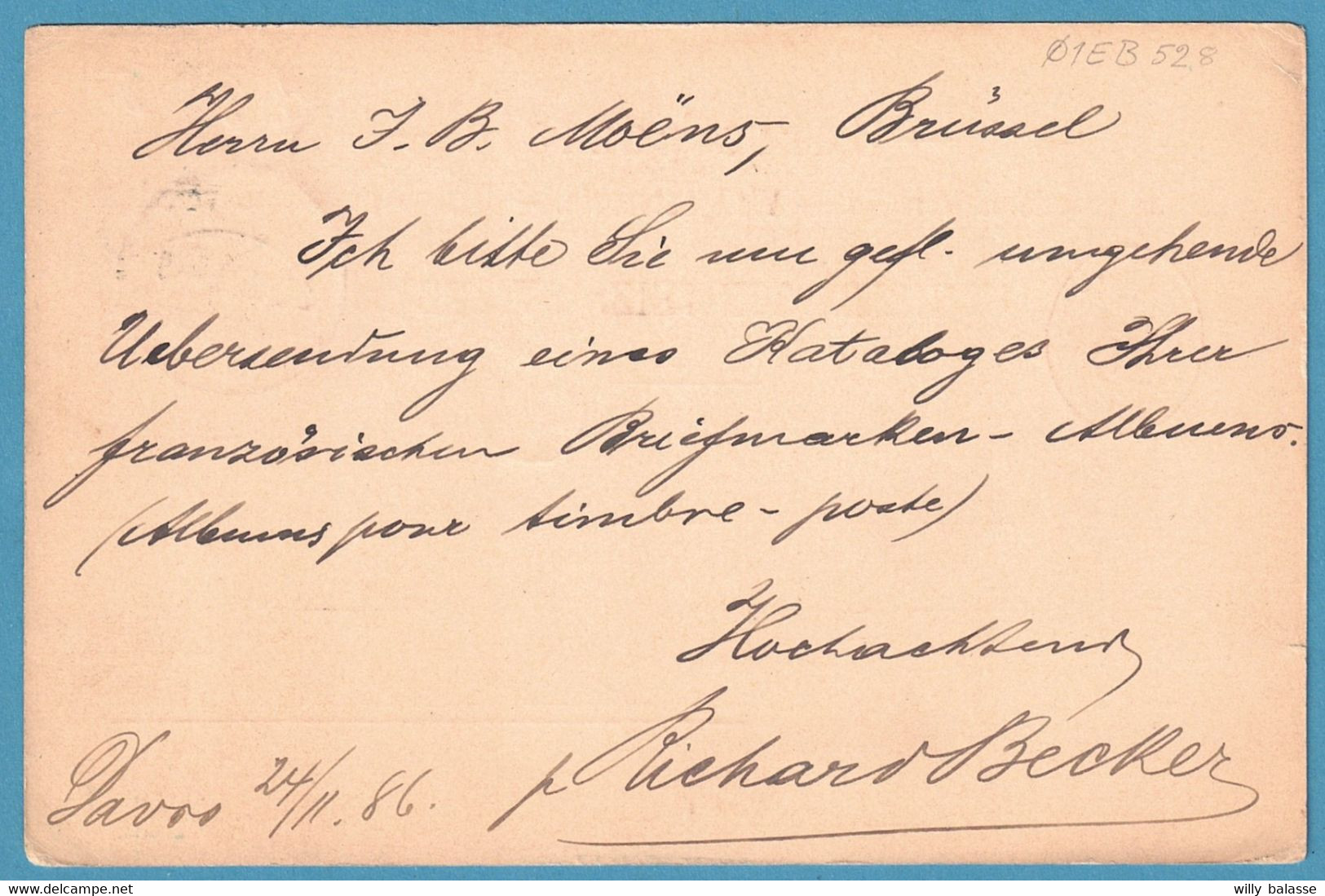 Cp 10c Càpt DAVOS/1886 Adressée à JB MOENS Célèbre Philatéliste Belge - Stamped Stationery