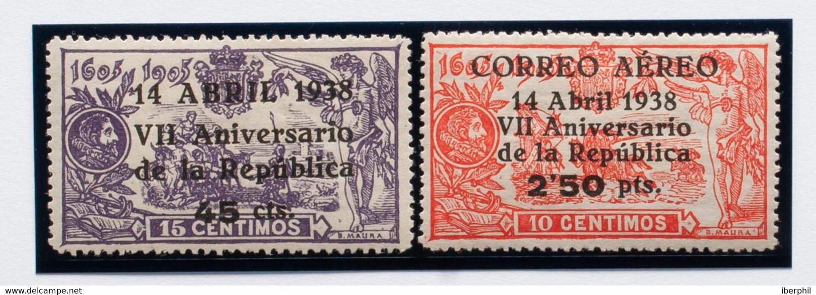 *755, 756. 1938. 45 Cts Sobre 15 Cts Violeta Y 2'50 Pts Sobre 10 Cts Rojo. Excelentes Centrajes. MAGNIFICOS. Edifil 2021 - Zonder Classificatie