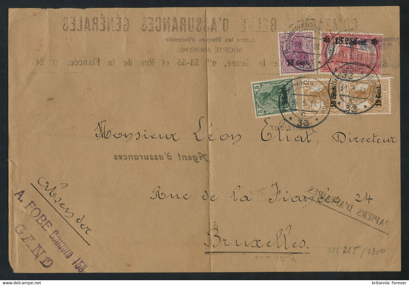"""German Occ. In Belgium 1918 Front Of A """"TURNED COVER"""" (re-used) Franked On Both Sides, Incl. The 1fr25c Value (COB OC36) - [OC26/37] Staging Zone"""