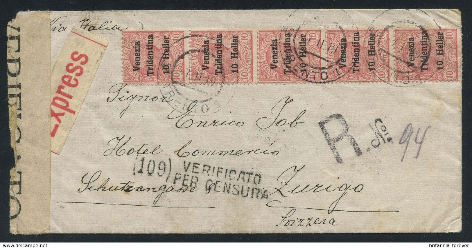 Italy WWI Terre Redente VENEZIA TRIDENTINA 10h On 10c Strip Of 5 + Others On 1919 Reg. Express Cover To Switzerland RARE - Trento & Trieste