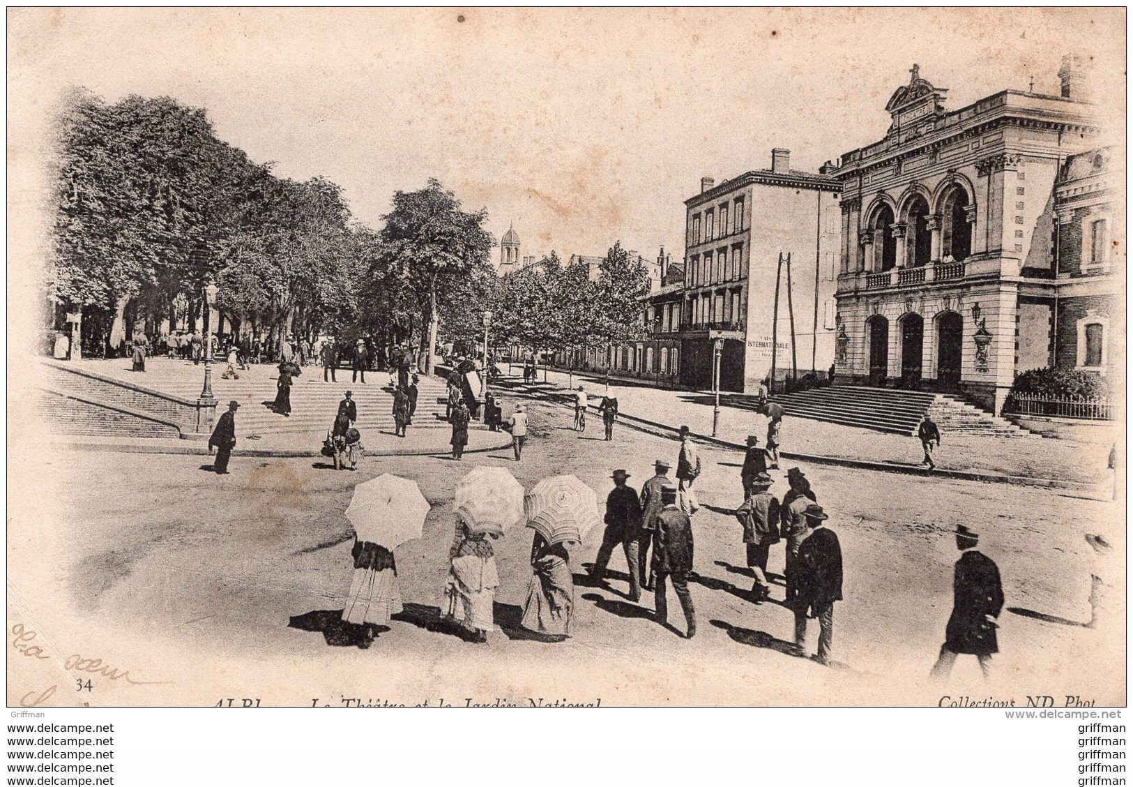 ALBI LE THEATRE ET LE JARDIN NATIONAL PRECURSEUR 1903 - Albi