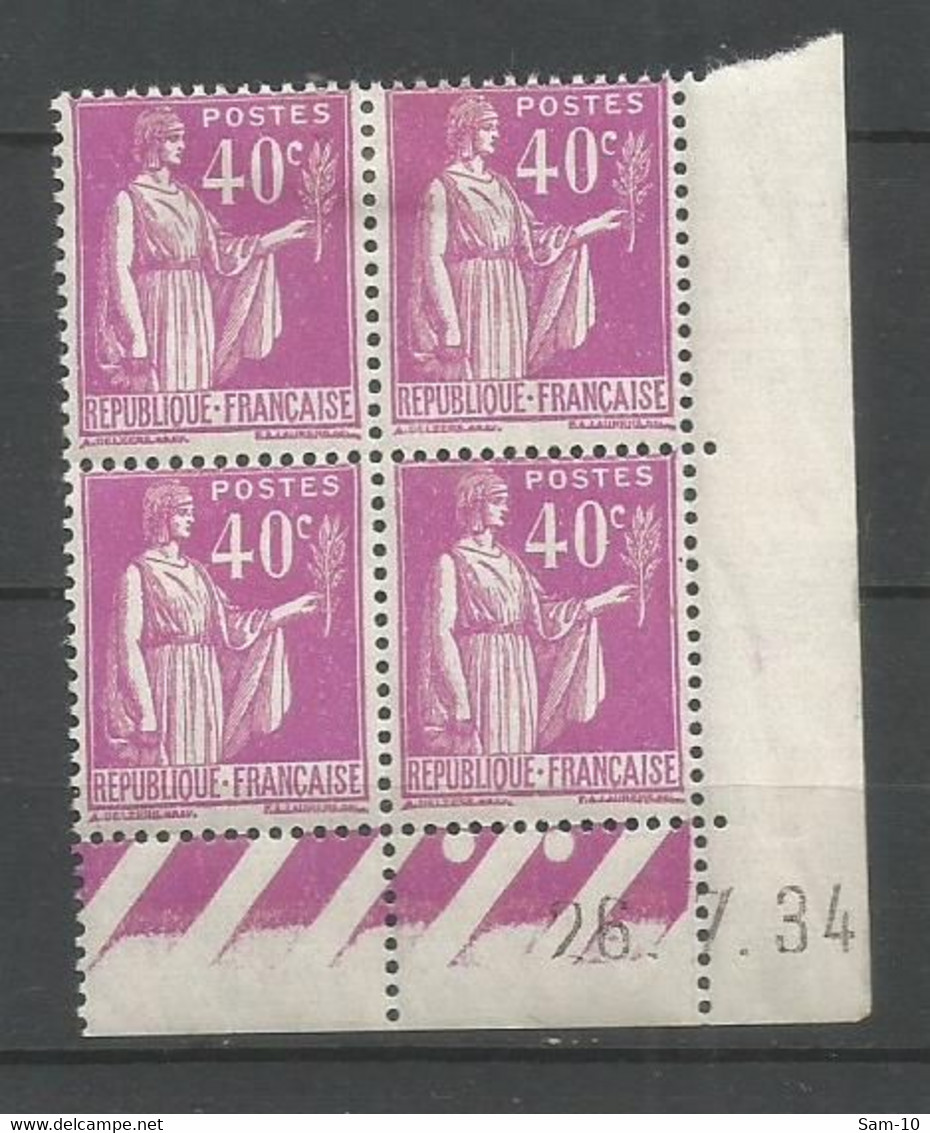 Coins Datés De France Neuf *  N 281 Année  1934 Charnière En Haut - 1930-1939