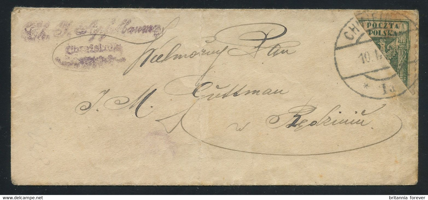Poland 1920 Small Cover From CHMIELNIK Bearing Eagle 50f Green DIAGONAL BISECT, Great Aspect, VERY RARE - Covers & Documents