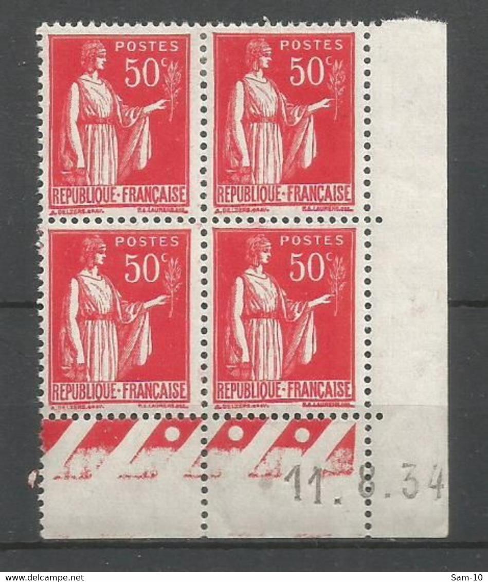 Coins Datés De France Neuf *  N 283 Année  1934 Charnière En Haut - 1930-1939