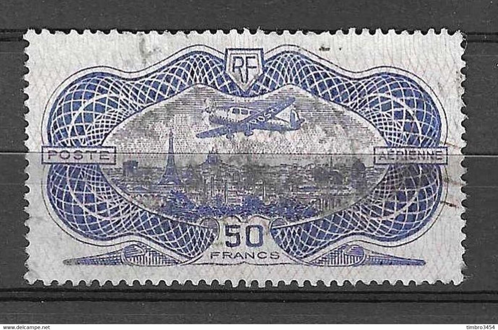 "France Poste Aérienne YT N° 15 ""burelé"" Oblitéré. B/TB. A Saisir! - 1927-1959 Matasellados"