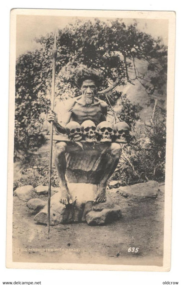 Vintage Postcard Philippine Postcard Early1900's Old Headhunter With Heads Unused. See Description BB - Philippines