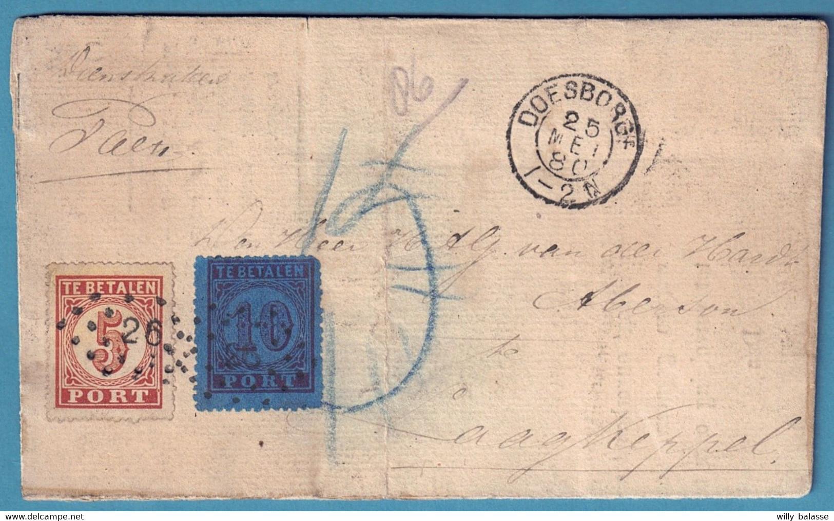 L De L'administration De DOESBORGH/1880, Taxée Avec TTx 10 Et 5c Lpts 26 Pour Aagkeppel - Postal History