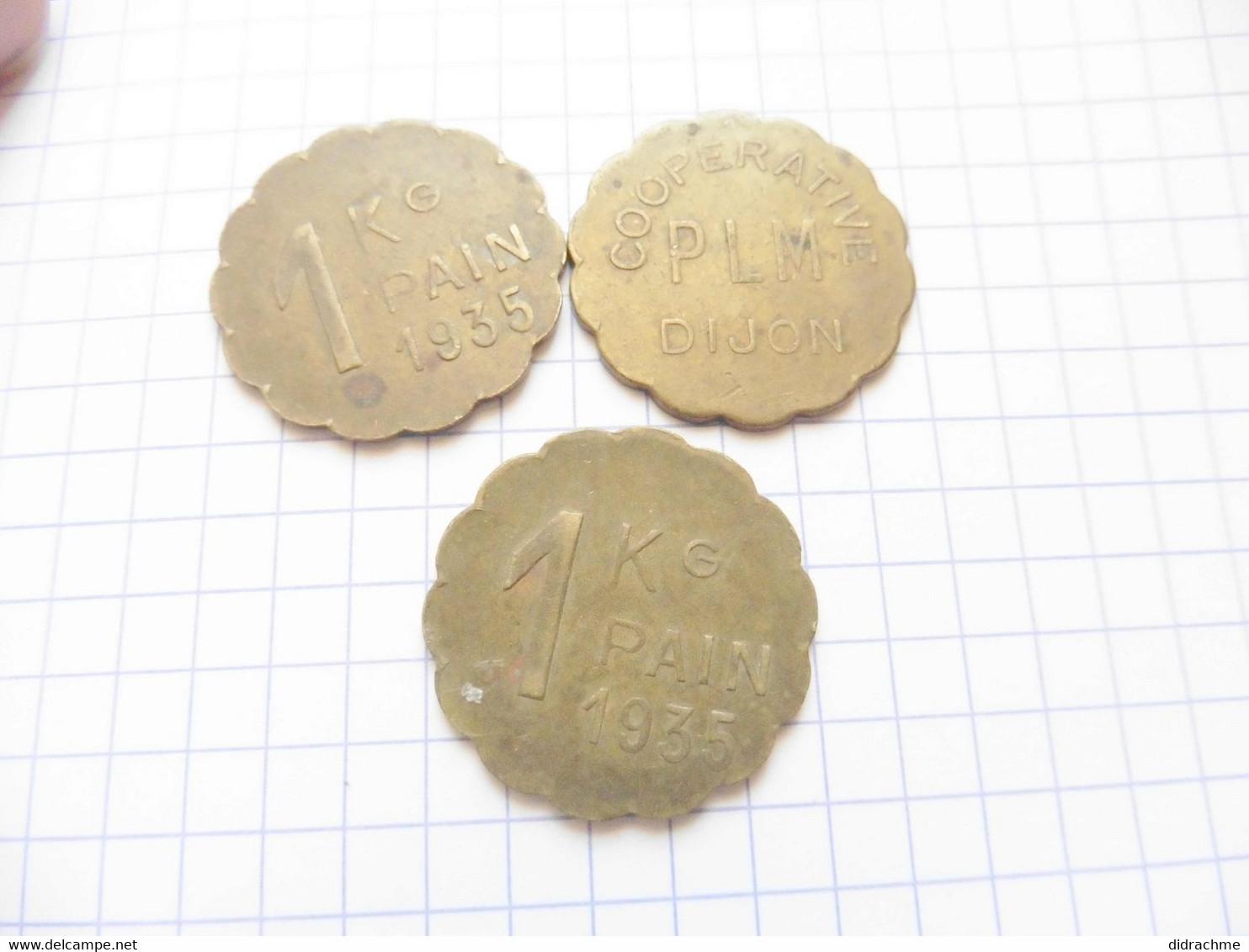 Lot 3x  1 Kg De Pain Dijon Coopérative Plm  Paypal Possible  Jeton Nécessité 1935   Kilo - Professionali/Di Società