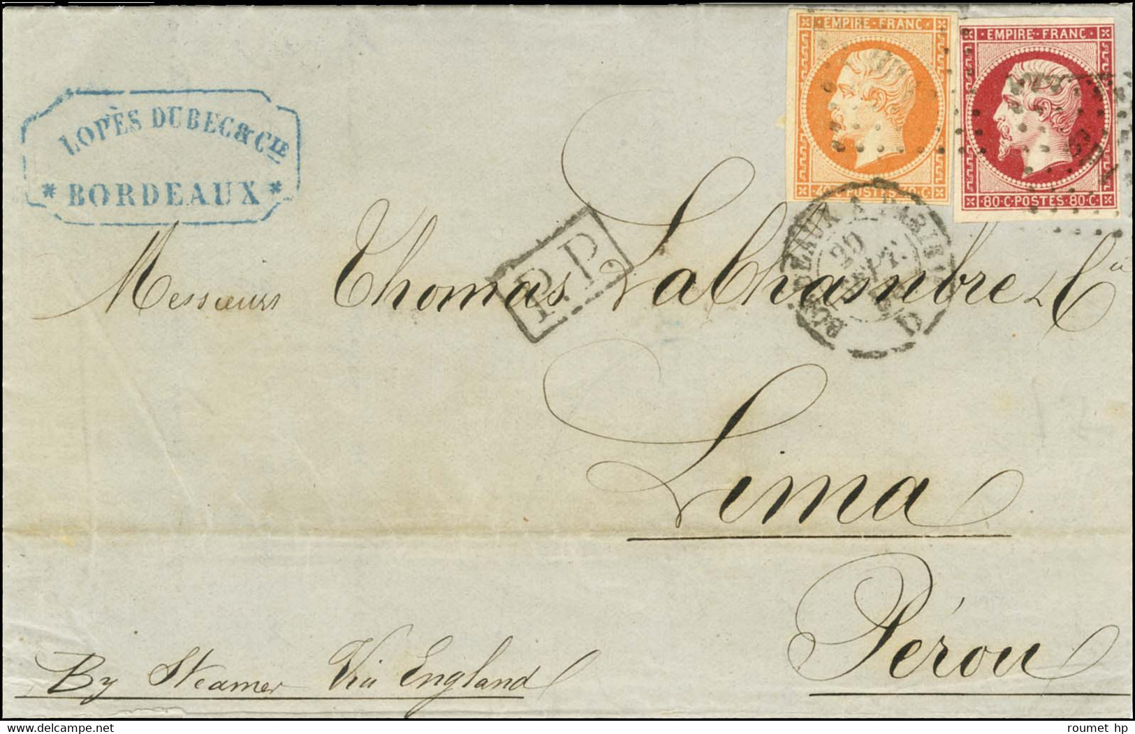 Losange BP 1 / N° 16 + N° 17A Càd BORDEAUX A PARIS Sur Lettre Pour Lima. 1860. - TB / SUP. - 1853-1860 Napoleon III