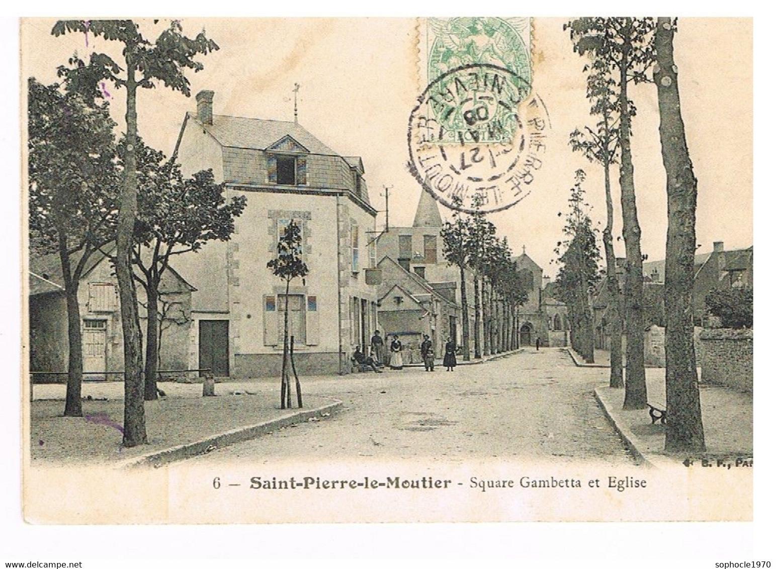 06- 2021 - SELECT - NIEVRE - 58 -SAINT PIERRE LE MOUTIER - Square Gambetta Et église - Saint Pierre Le Moutier