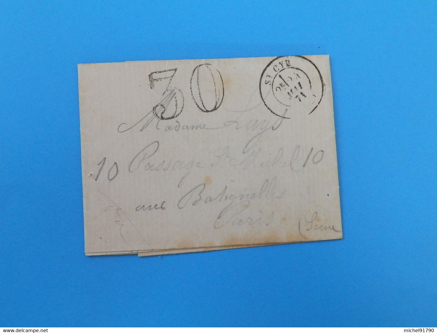 MARQUE POSTALE DE ST CYR A PARIS DU 24 MAI 1871 - 1849-1876: Classic Period