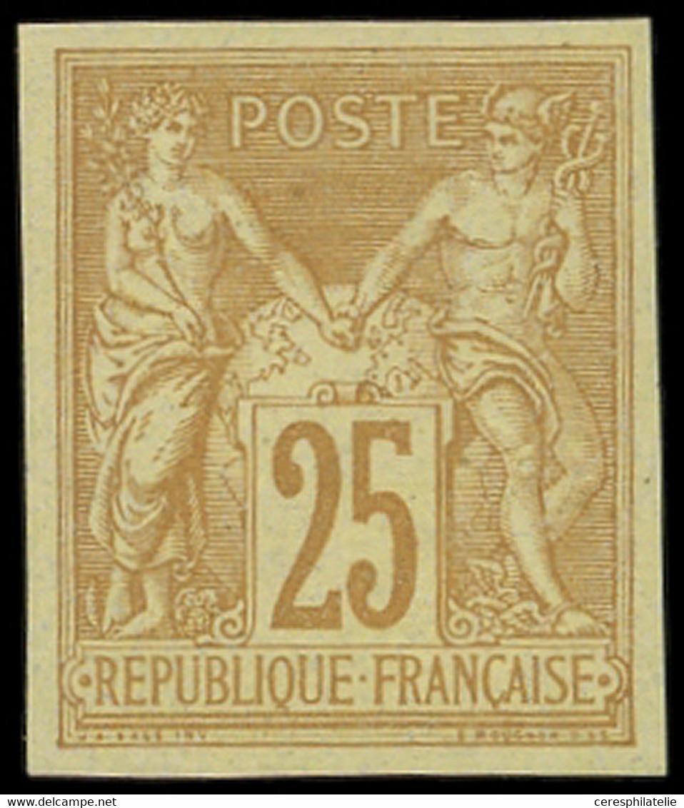 ** TYPE SAGE - 92b  25c. Bistre Sur Jaune, NON DENTELE, TB - 1876-1898 Sage (Type II)