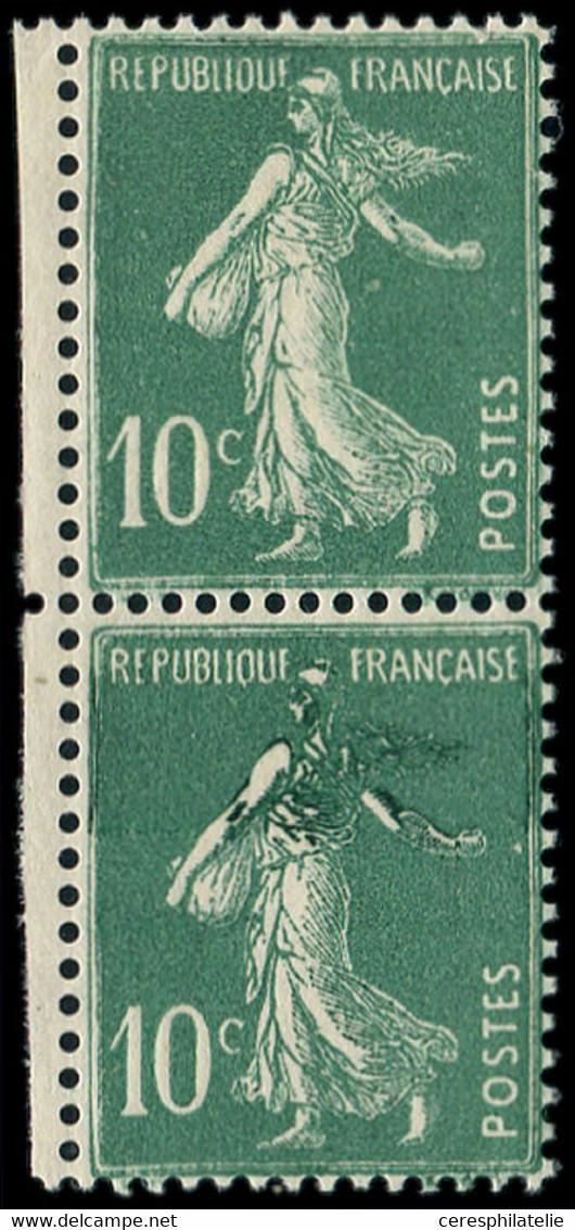 ** VARIETES - 159   Semeuse Camée, 10c. Vert, Impression MACULEE Dans Une Paire, TB - Varieties: 1921-30 Mint/hinged