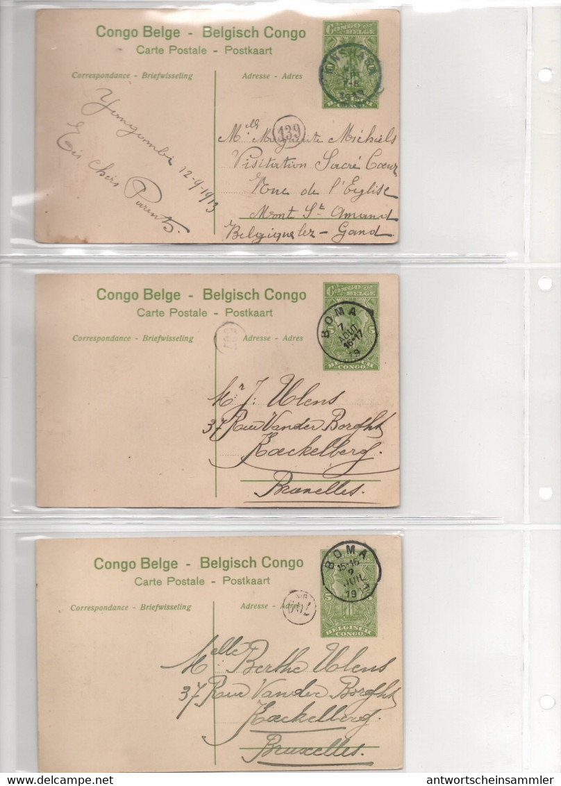 BELGISCH CONGO BELGE Collection 30 Different POSTAL STATIONARY PICTURE POSTCARDS W. Many Postmarks + Complete Catalogue - Stamped Stationery